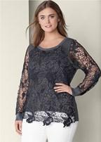 plus size lace detail sweatshirt