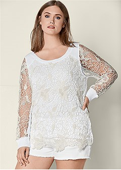 plus size lace detail sweatshirt