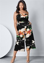 plus size strapless culotte jumpsuit