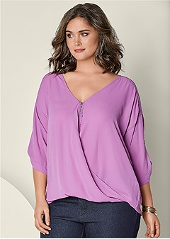 plus size zip up blouse