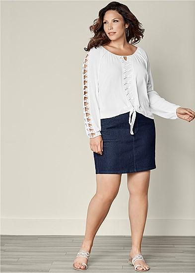 Plus Size Color Mini Jean Skirt