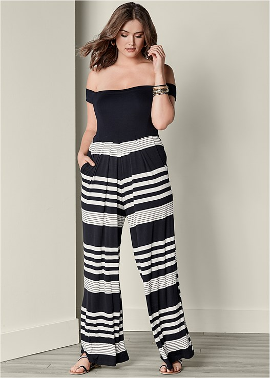 408e3e3338292 Plus Size OFF THE SHOULDER JUMPSUIT in Black   Off White ...