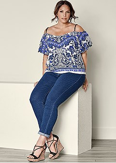 plus size cold shoulder printed top