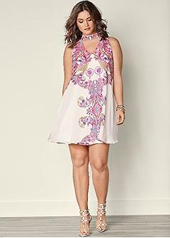 plus size printed neck detail dress