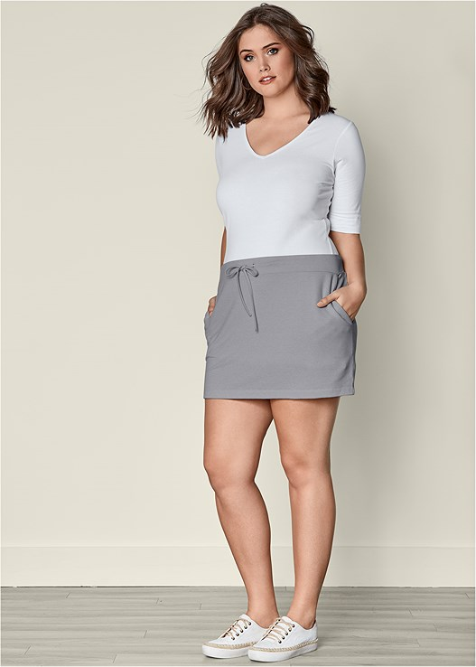 TERRY SKIRT,LONG AND LEAN TEE