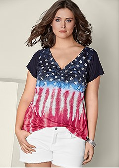 plus size short sleeve flag top