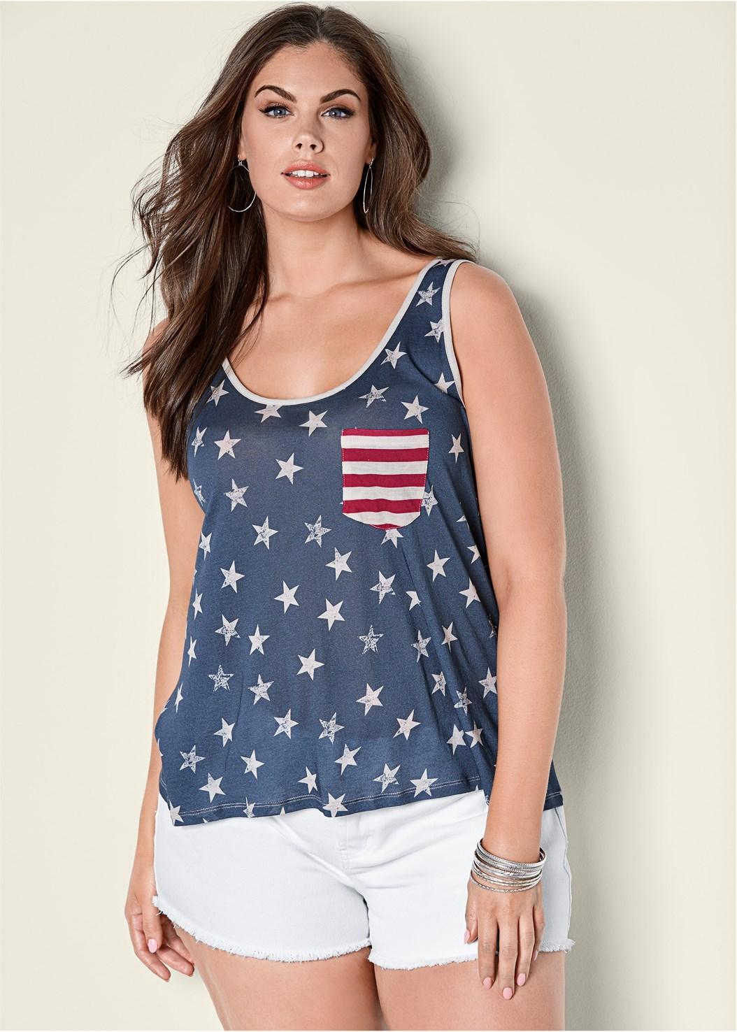 Stars And Stripes Knit Top,Star Cuff Capri Jeans,Frayed Cut Off Jean Shorts,Frayed Hem Denim Skirt,Denim Sandal