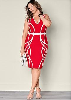 plus size slimming color block dress