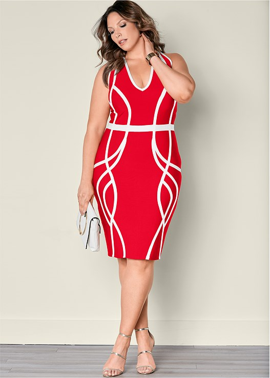Plus Size SLIMMING COLOR BLOCK DRESS | VENUS