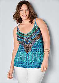 Front View Embellished Print Tank Top