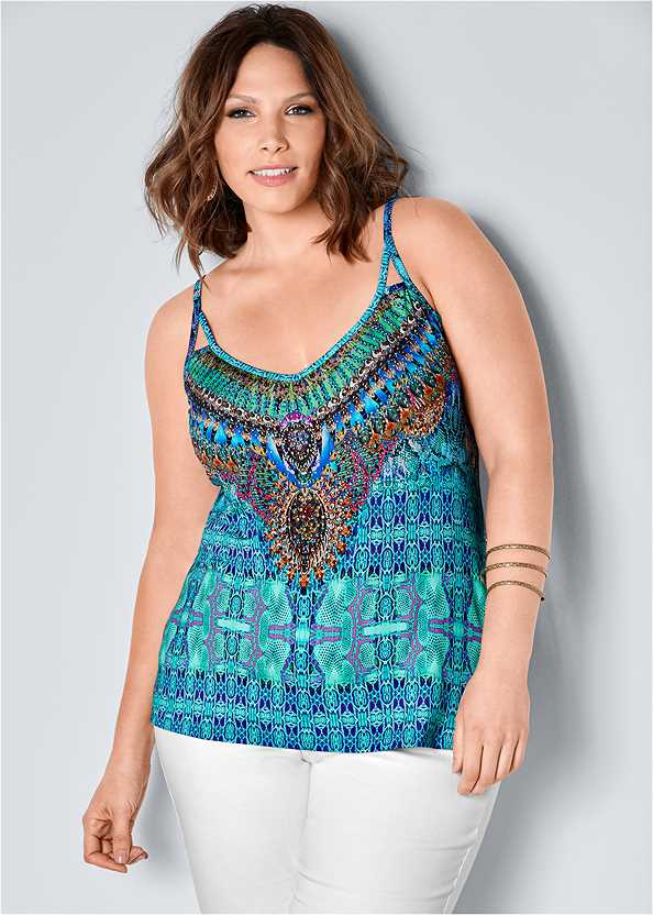Embellished Print Tank Top,Bum Lifter Jeans,Etched Metal Upper Arm Band