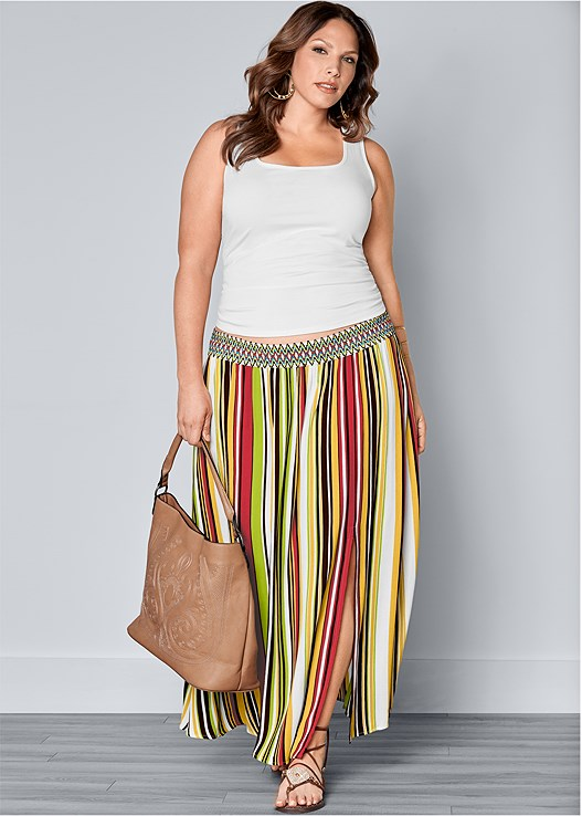 STRIPE PRINT MAXI SKIRT,SQUARE NECK TANK TOP,ETCHED METAL UPPER ARM BAND,LACE UP GLADIATOR SANDALS