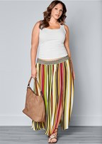 plus size stripe print maxi skirt