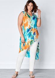 Plus Size Ribbed Tie Dye Tunic Top