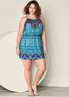 plus size embellished mini dress