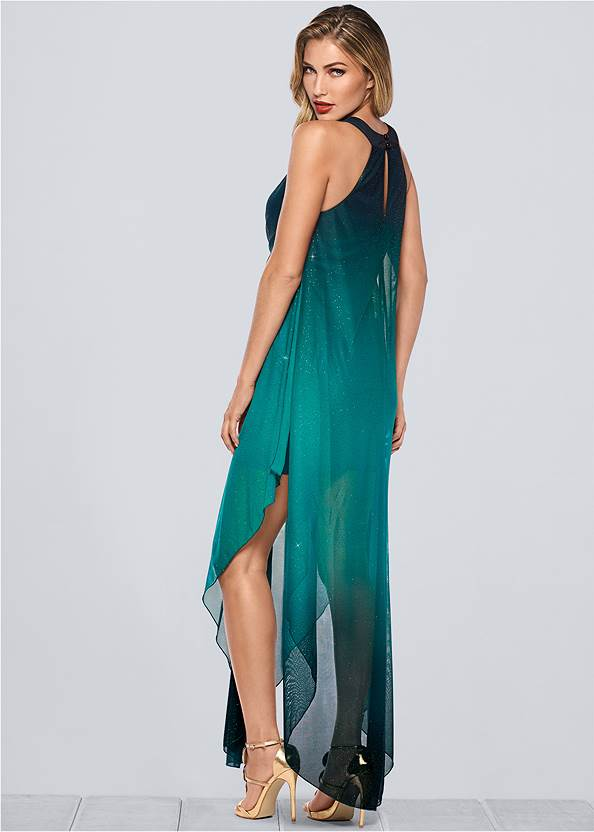 Back view Ombre Glitter Long Dress