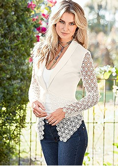 lace detail blazer