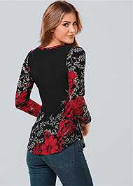 Back view Floral Printed Button Down