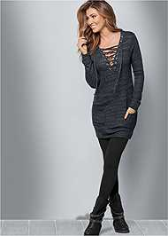 Front view Lace Up French Terry Dress