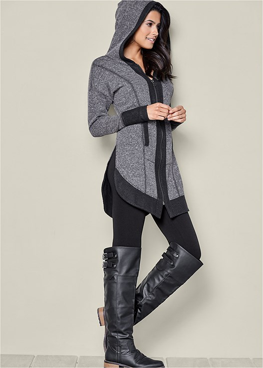 TUNIC LENGTH ZIP UP HOODIE,BASIC LEGGINGS,PLAID PRINT MINIMIZER BRA,BUCKLE KNEE HIGH BOOTS