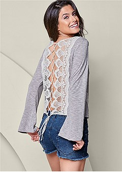 lace up lace back top
