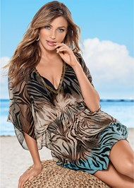 Front view Beaded V-Neck Poncho