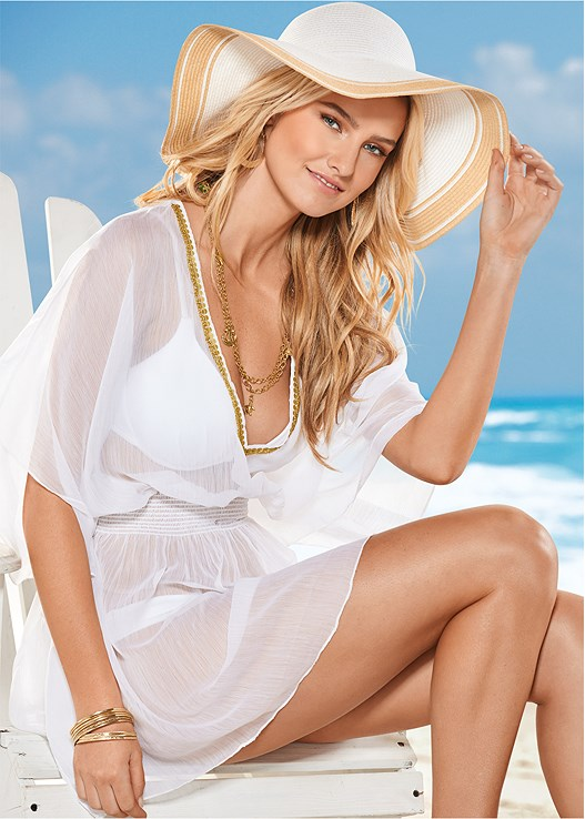 BEADED V-NECK PONCHO,UNDERWIRE HALTER BIKINI TOP,SCOOP FRONT BIKINI BOTTOM