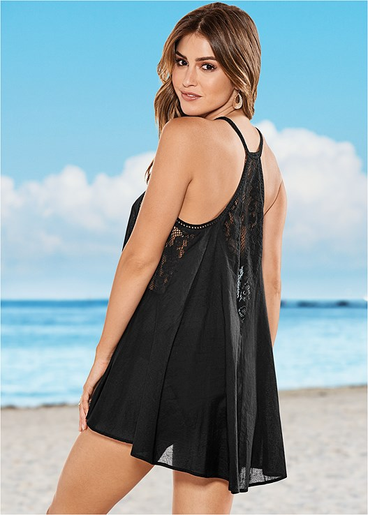 RACERBACK CROCHET COVER-UP,SHAPELY RUCHED BANDEAU,TIE SIDE BIKINI BOTTOM