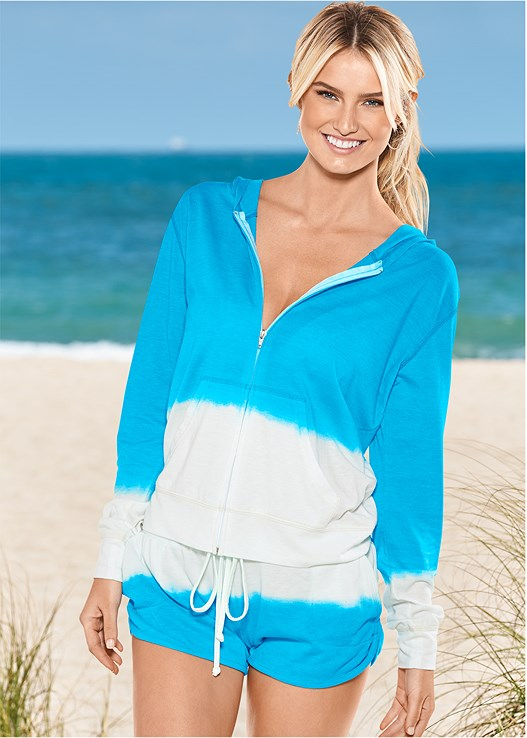 TERRY COVER-UP SHORTS,HOODED TERRY COVER-UP