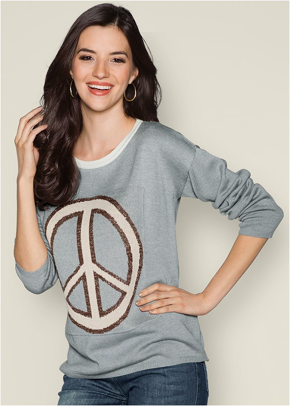 Peace Sign Sweater,Mid Rise Color Skinny Jeans