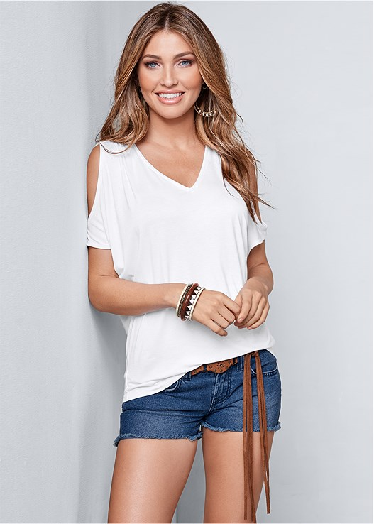 413f88788a5b cold shoulder v-neck top