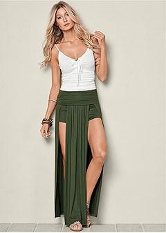 high slit maxi skirt