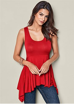 scoop neck babydoll top