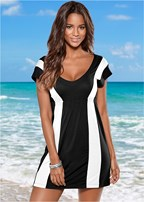 colorblock v-neck cover up