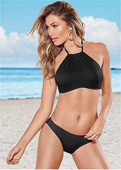 high neck halter bikini top