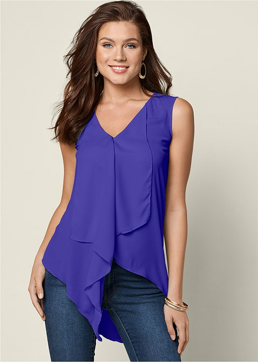 RUFFLE FRONT BLOUSE,COLOR SKINNY JEANS