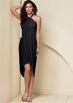 waterfall maxi dress, embellished sandal