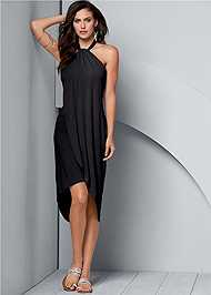 Front view Waterfall Maxi Dress