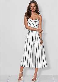 Front view Stripe Culotte Jumpsuit