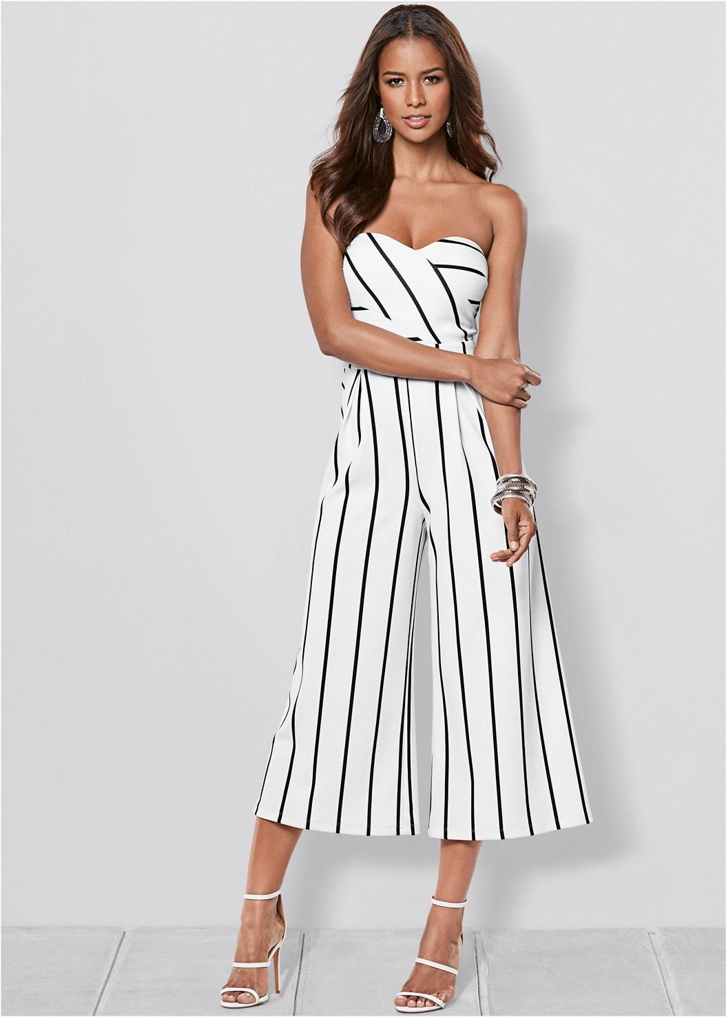 Stripe Culotte Jumpsuit,Full Figure Strapless Bra
