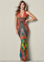 multi colored printed dress