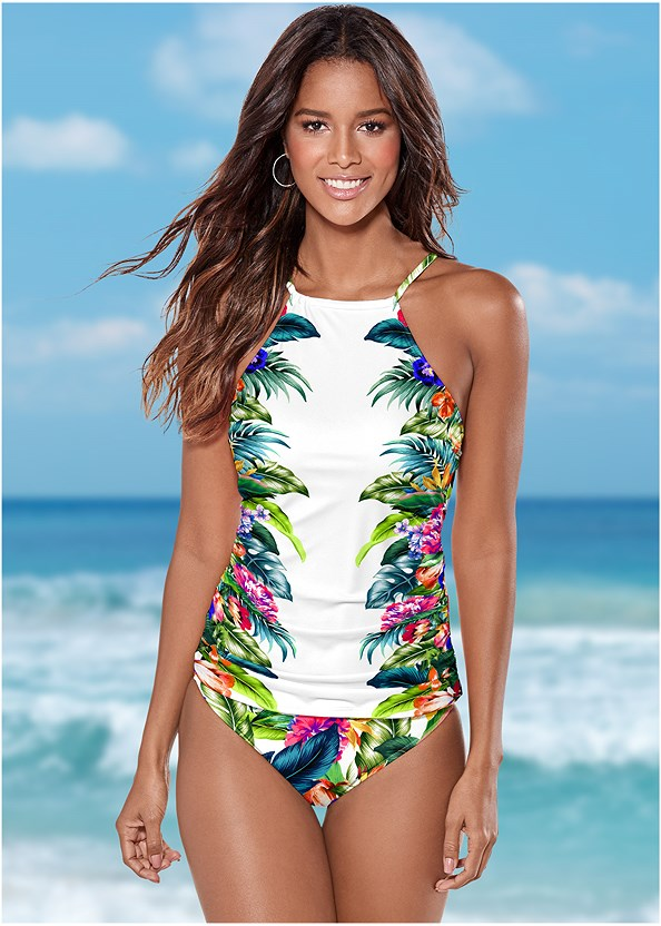 Ruched Side Halter Tankini,High Waist Moderate Bottom,Scoop Front Classic Bikini Bottom ,Swim Short,Lace Kimono Cover-Up