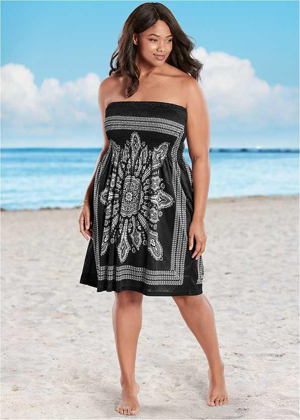Bandeau Dress,Grommet Lace Up One-Piece,Embellished Sandals,Woven Handbag