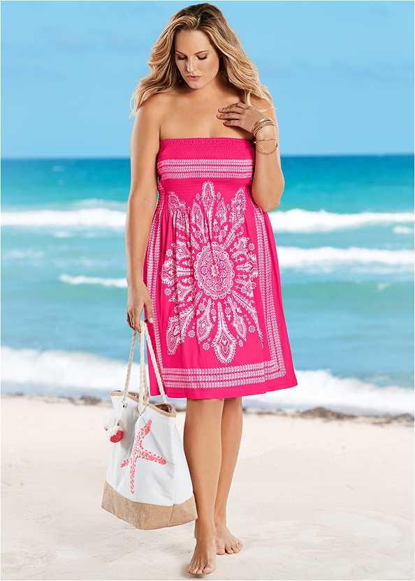 Bandeau Dress,Grommet Lace Up One-Piece,Embellished Sandals