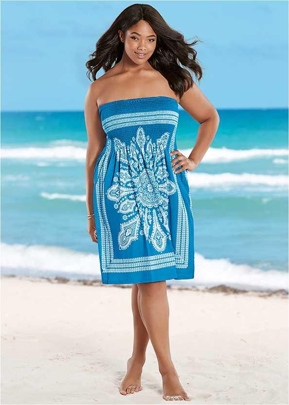 Bandeau Dress,Slimming Draped One-Piece,Embellished Slides