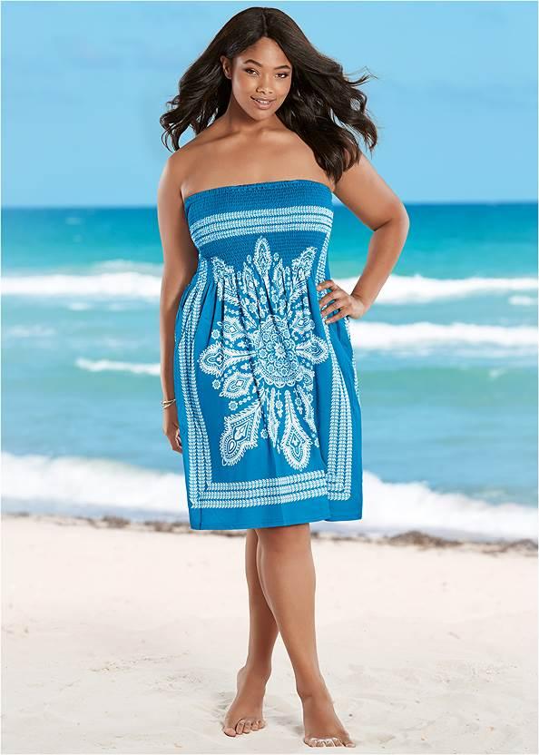 Bandeau Dress,Slimming Draped One-Piece