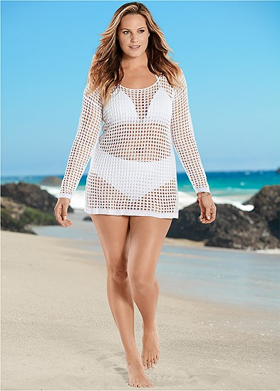 Plus Size Crochet Cover-Up Tunic