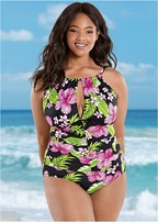 514cde41428e5 Plus Size GODDESS FULL TANKINI in Aqua Reef