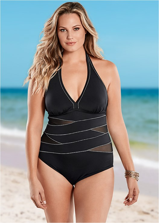 1c704ae00fbef Plus Size PEEK-A-BOO HALTER ONE-PIECE