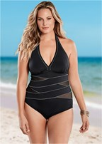 plus size peek-a-boo halter one-piece